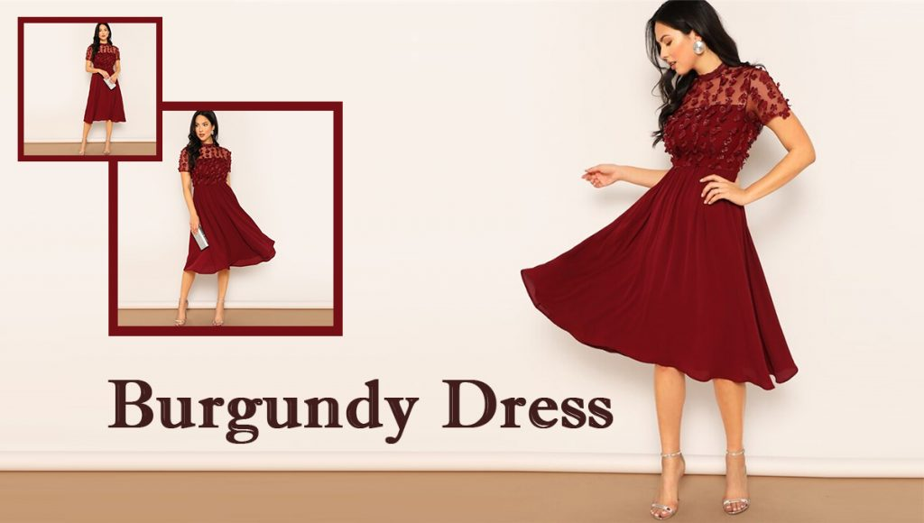Womens burgundy dress