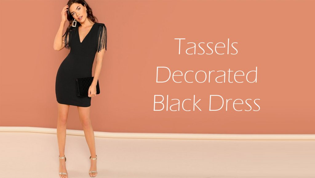 Tassels decorated black dress for women